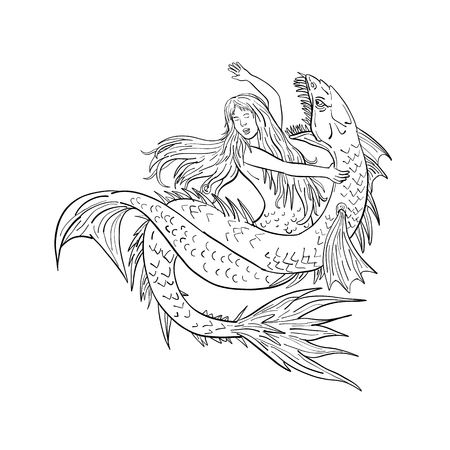 Drawing sketch style illustration of a a mermaid or siren fighting or grappling with a sea serpent or monster on isolated white background in  black and white.