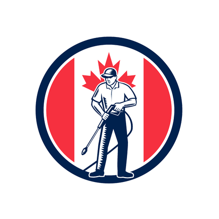 Illustration of a Canadian worker with pressure washer chemical washing using high-pressure water spray with Canada maple leaf flag set inside circle done in retro woodcut style.