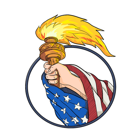 Drawing sketch style illustration of a hand holding a Statue of Liberty torch with American USA stars and stripes flag draped on arm set inside oval on isolated white background in full color. Standard-Bild - 124140890