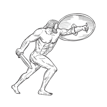 Drawing sketch style illustration of Hercules, a Roman hero and god equivalent to Greek divine hero Heracles, shielding with shield and carrying a sword on isolated white background in  black and white. Illustration