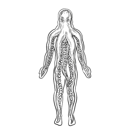 Drawing sketch style illustration of an alien octopus inside a human body and taking over it viewed from front on isolated white background in black and white.