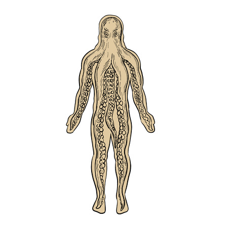 Drawing sketch style illustration of an alien octopus inside a human body and taking over it viewed from front on isolated white background.