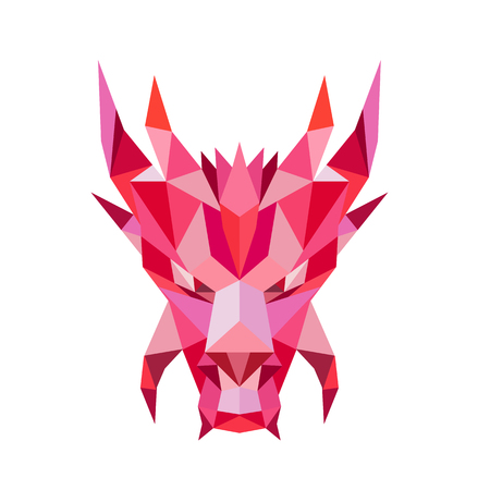 Low polygon style illustration of a head of a mythical dragon,serpent-like legendary creature that appears in  folklore of many cultures viewed from front on isolated white background. Illustration