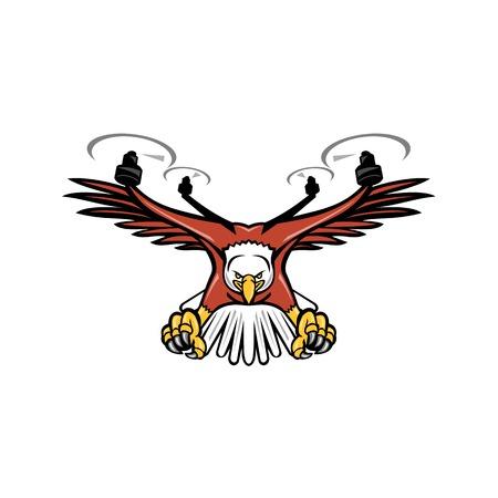 Ilustración del icono de la mascota de un medio águila medio drone o quadcopter con cuatro hélices de rotor descendiendo con garras mirando desde el frente sobre fondo aislado en estilo retro.