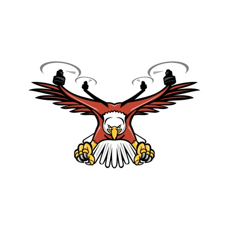 Mascot icon illustration of a half eagle half drone or quadcopter with four rotor propellers swooping down with talons facing viewed from front on isolated background in retro style. Illustration