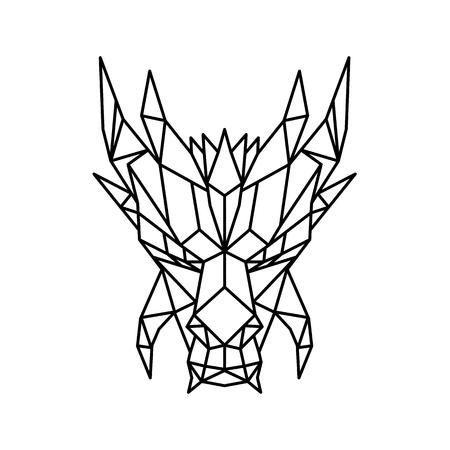 Ilustración de estilo poligonal bajo de una cabeza de dragón, una criatura legendaria con forma de serpiente que aparece en el folclore de muchas culturas visto de frente sobre fondo aislado en blanco y negro.