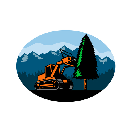 Retro style illustration of a tracked mulching tractor or forestry mulcher tearing down a pine tree with forest and mountains set inside oval on isolated background.