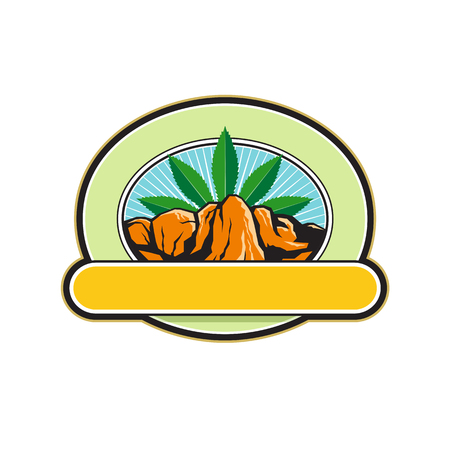 Retro style illustration of a mountain or canyon with steep cliff and hemp leaf in background set inside oval shape with banner in foreground on isolated background.