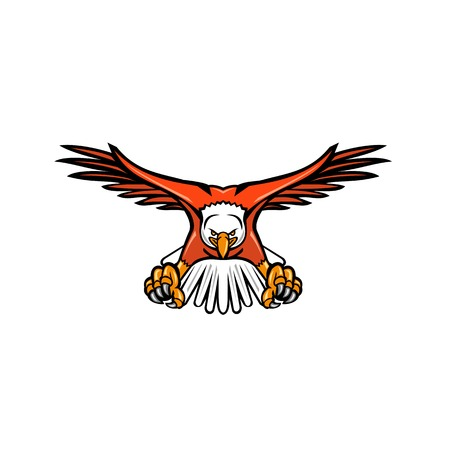 Mascot icon illustration of a bald eagle, sea eagle or American eagle swooping down with talons facing viewed from front on isolated background in retro style.
