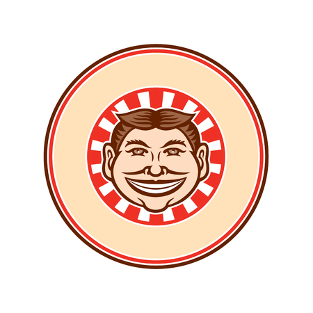 Mascot icon illustration of head of a grinning, leering, smiling funny face slyly beaming mug with hair parted in middle viewed from front with sunburst set inside circle on isolated background in retro style.