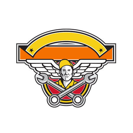 Icon retro style illustration of a crew chief or aircraft mechanic with crossed spanner or wrench and aviator or army wings set inside circle with banner in foreground on isolated background.
