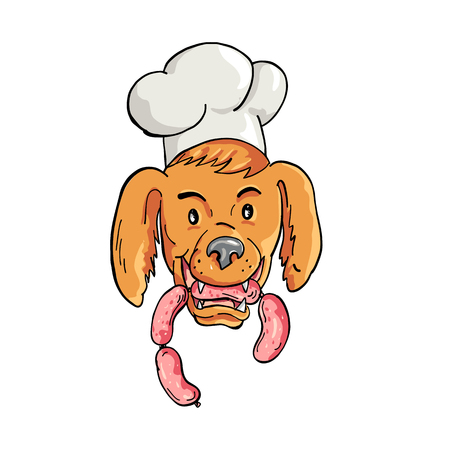 Cartoon style illustration of an Irish Setter dog wearing chef, baker or cook hat biting a sausage string viewed from front on isolated background. Illustration