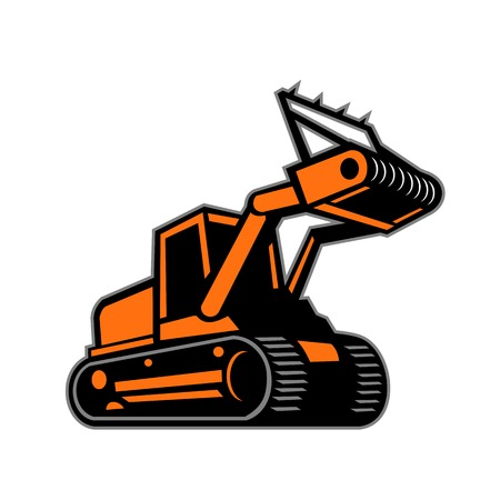 Retro icon style illustration of a tracked mulching tractor or forestry mulcher viewed from side on isolated background. Illustration