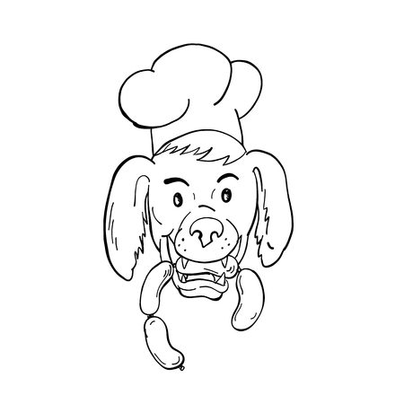 Cartoon style illustration of an Irish Setter dog wearing chef, baker or cook hat biting a sausage string viewed from front on isolated background in black and white.
