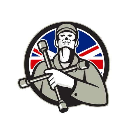 Illustration of a British mechanic worker wearing hat holding tire wrench, 4-way lug wrench or tyre iron on chest looking up set in shield with Union Jack flag in background in retro style.