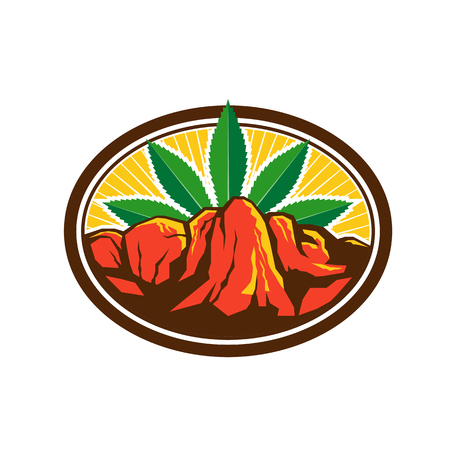 Retro style illustration of a red canyon and steep cliff with hemp leaf in background set inside oval shape on isolated background. Illustration