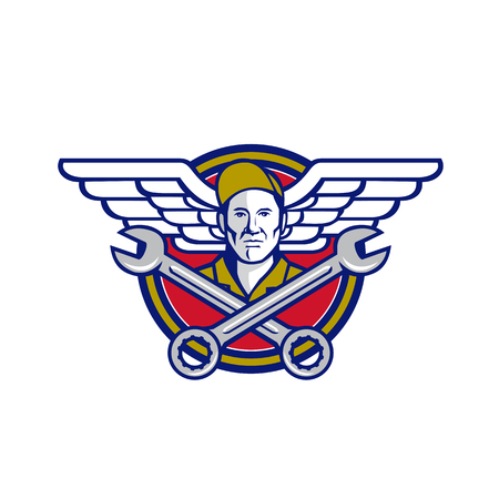 Icon retro style illustration of a crew chief or aircraft mechanic with crossed spanner or wrench and aviator or army wings set inside circle on isolated background. Ilustrace
