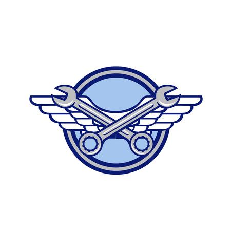 Icon Retro-Stil Illustration eines gekreuzten Schraubenschlüssels oder Schraubenschlüssels und Luftwaffe, Flieger oder Armeeflügel innerhalb des Kreises auf isoliertem Hintergrund.