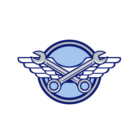 Icon retro style illustration of a crossed spanner or wrench and air force, aviator or army wings set inside circle on isolated background.