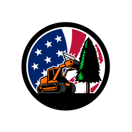 Retro style illustration of a tracked mulching tractor or forestry mulcher tearing down tree with American stars and stripes USA flag inside circle l on isolated background. Illustration