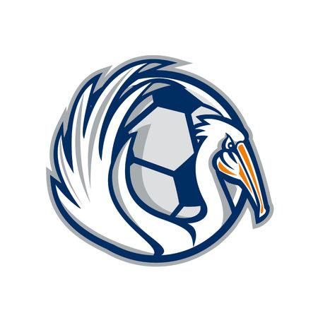 Illustration eines Pelikans, der seine Flügel mit Fußball im Hintergrund zeigt, der von der Seite im Retro-Stil betrachtet wird. Vektorgrafik