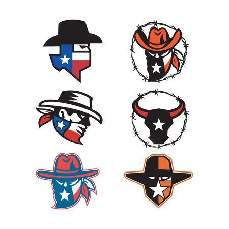 Ilustración del icono de la mascota de la cabeza de un forajido o bandido tejano y un toro de cuernos largos de Texas sobre fondo aislado en estilo retro.