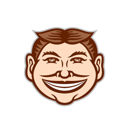 Mascot icon illustration of head of a funny face grinning, leering, smiling slyly beaming mug with hair parted in middle viewed from front on isolated background in retro style.