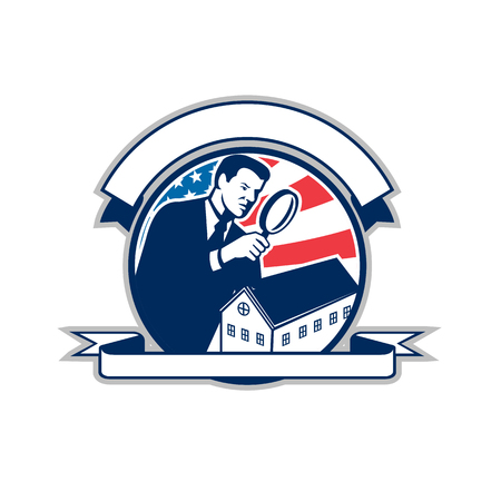 Icon retro style illustration of an American home inspector with magnifying glass and United States of America USA star spangled banner or stars and stripes flag inside circle isolated background.