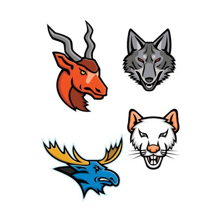 Mascot icon illustration set of heads of an addax, grey coyote, bull moose and a rat  viewed from front  on isolated background in retro style. Illustration
