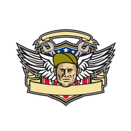 Mascot icon illustration of head of a crew chief or aircraft mechanic with crossed wrench and air force army wings with American stars and stripes flag inside shield on isolated background in retro style.