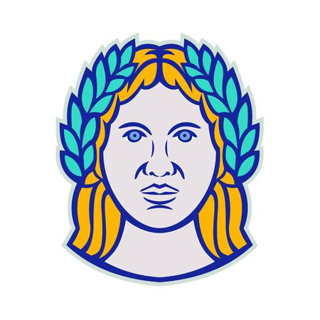 Mascot icon illustration of head of Ceres, a Roman agricultural deity with Demeter as Greek god equivalent wearing a laurel crown viewed from front on isolated background in retro style. Archivio Fotografico - 127915685