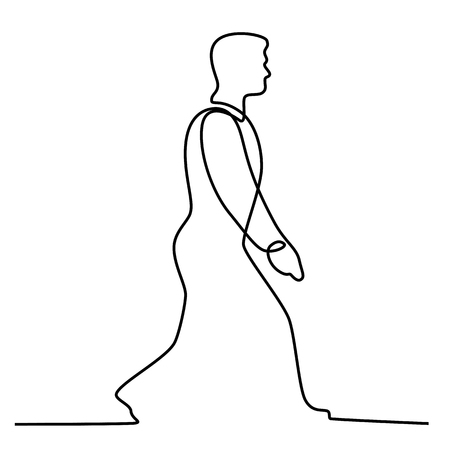 Continuous line illustration of male businessman man walking viewed from side done in black and white monoline style.