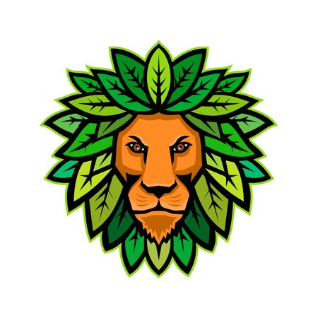 Mascot icon illustration of head of a lion with leaves as mane viewed from front on isolated background in retro style. Illustration