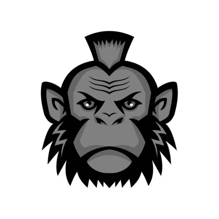 Mascot icon illustration of head of a chimpanzee wearing a mohawk hairstyle or haircut viewed from front on isolated background in retro style. Vector Illustration