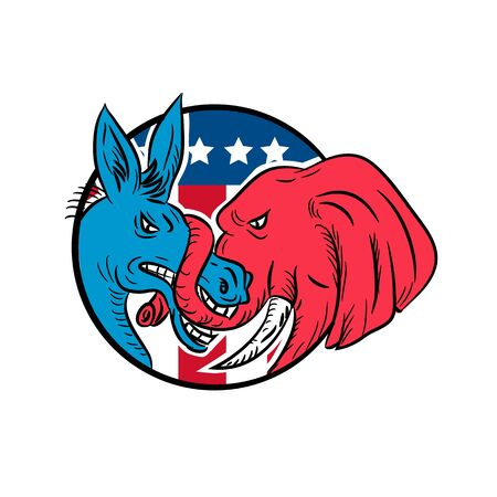 Drawing sketch style illustration of a Republican donkey biting a Democrat elephant fighting with USA American stars and stripes flag set inside circle on isolated white background. Illustration