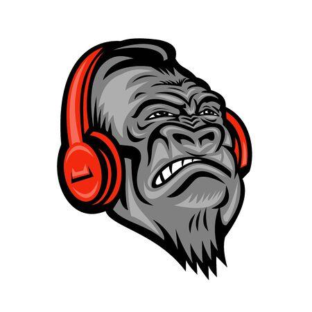 Ilustración del icono de la mascota de la cabeza de un gorila enojado o un mono con auriculares rojos escuchando música mirando hacia arriba, visto de frente sobre fondo aislado en estilo retro.