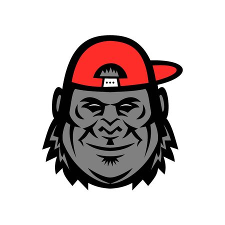 Mascot icon illustration of head of a gorilla wearing a baseball cap or hat from side viewed from front  on isolated background in retro style.
