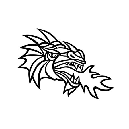 Mascot icon illustration of head of a mythical dragon breathing fire viewed from side on isolated background in retro style done in black and white. Illustration