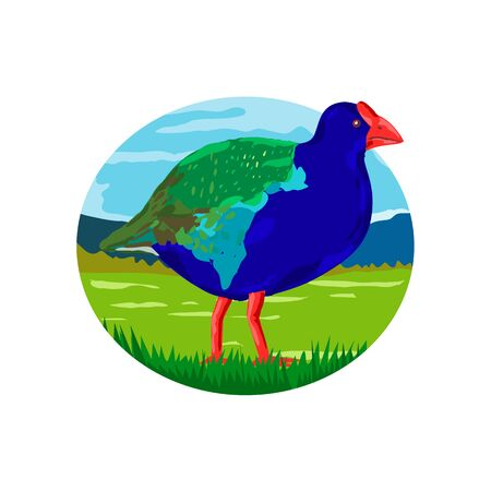 Retro style illustration of a takahe, the South Island takahe or notornis, a flightless bird indigenous to New Zealand in the meadow with mountains viewed from side set inside oval shape  on isolated background.