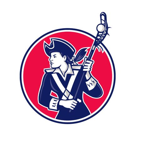 Mascot icon illustration of a female American patriot as Lacrosse player running with lacrosse stick set inside circle on isolated background in retro style.