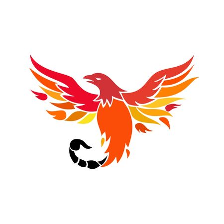 Icon retro style illustration of a mythical phoenix or firebird of Greek mythology with a tail of a scorpion or venomous stinger flying up on isolated background. Иллюстрация