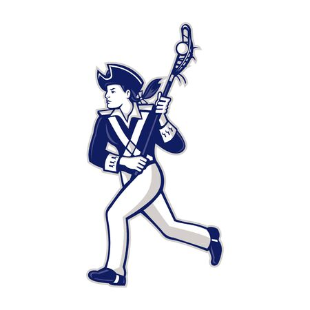 Mascot icon illustration of a female American patriot as Lacrosse player running with lacrosse stick viewed from side on isolated background in retro style. Illustration