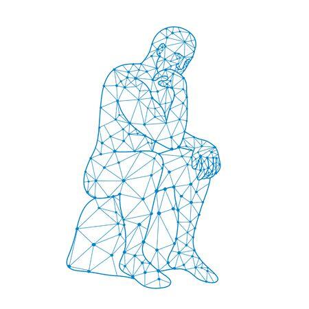 Nœuds ou illustration de style mosaïque à faible polygone d'un futur homme assis pensant sur fond blanc isolé en noir et blanc. Vecteurs