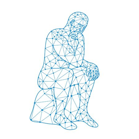 Nodes or mosaic low polygon style illustration of a future man sitting thinking on isolated white background in black and white.