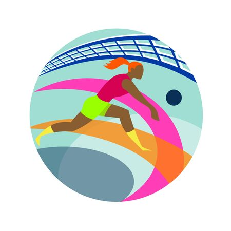 Icon retro style illustration of a female volleyball player passing ball with net in background set inside circle  on isolated background.