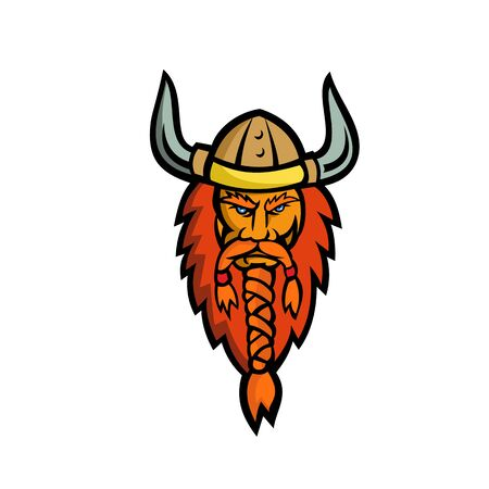 Mascot icon illustration of head of an angry Viking, Norseman or Norse seafarer viewed from   front on isolated background in retro style.