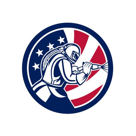 Mascot icon illustration of an American sandblaster or sand blaster abrasive blasting viewed from side set inside circle with USA stars and stripes flag on isolated background in retro style. Illusztráció