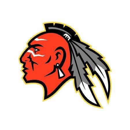 Icona della mascotte illustrazione della testa di un Mohawk coraggioso, capo o guerriero, tribù degli Haudenosaunee, o Confederazione Irochese, un popolo indigeno di lingua irochese del Nord America in stile retrò. Vettoriali