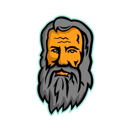 Mascot icon illustration of head of Michelangelo di Lodovico Buonarroti Simoni or simply Michelangelo, an Italian sculptor, painter, architect and poet of the Renaissance front view in retro style.