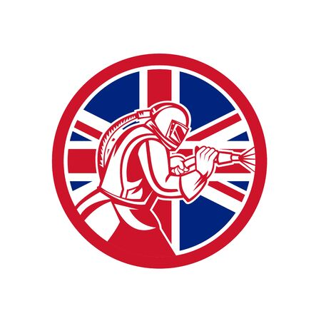 Mascot icon illustration of a British sandblaster or sand blaster abrasive blasting viewed from side set inside circle with Union Jack flag on isolated background in retro style. Illustration